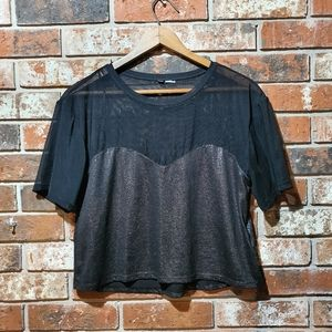 Sheer cropped sparkle top